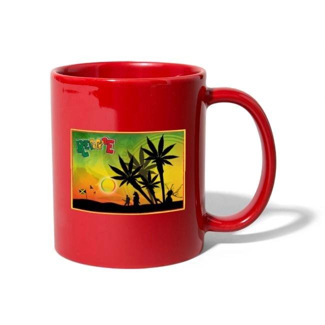 Reggae med cannabispalmer - Enfärgad mugg