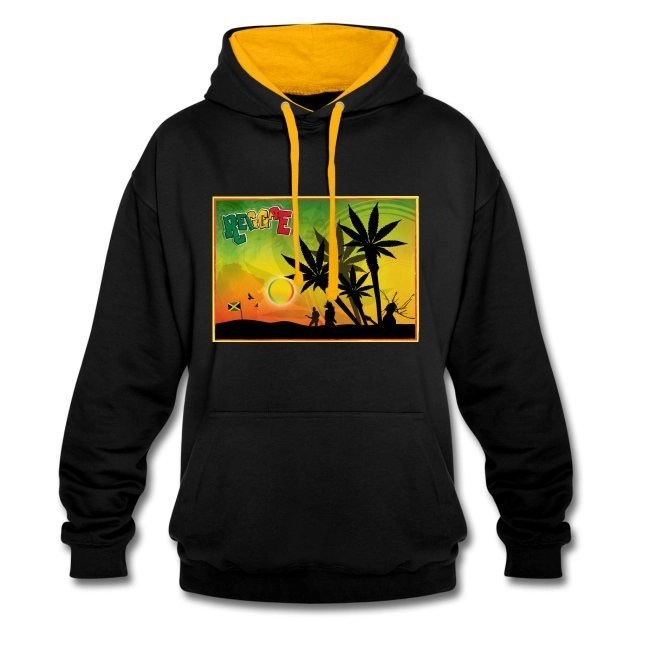 Reggae med cannabispalmer - Kontrastluvtröja av unisexmodell