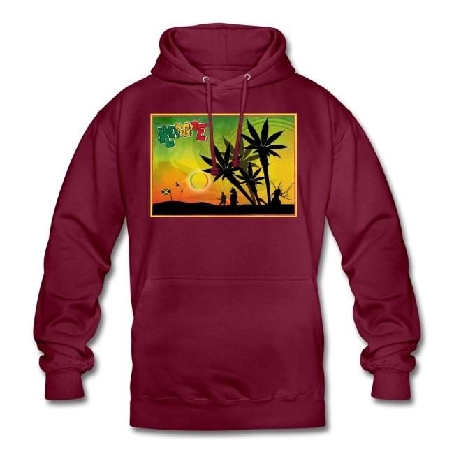 Reggae med cannabispalmer - Luvtröja unisex