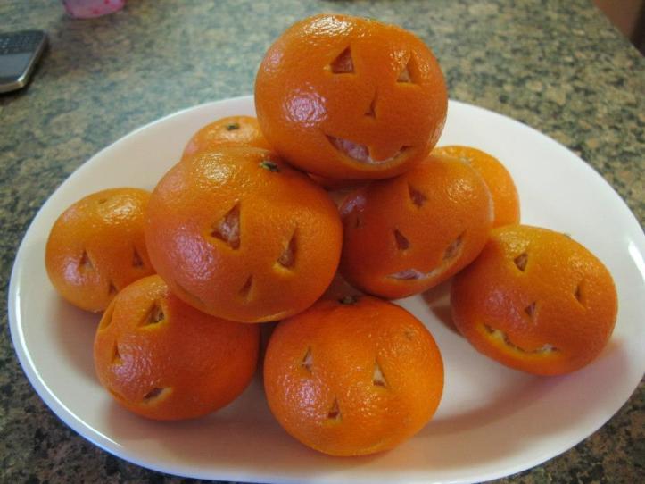 halloween oranges  allergy free halloween snack