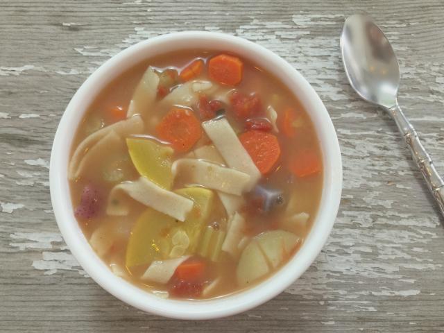 gluten, dairy free egg noodles in chicken soup