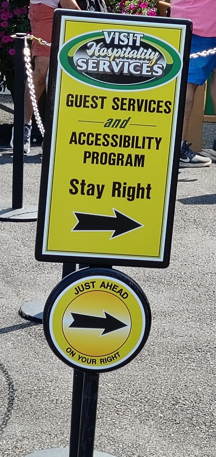 Sign showing Hospitality Services as the location for the Accessibility Program