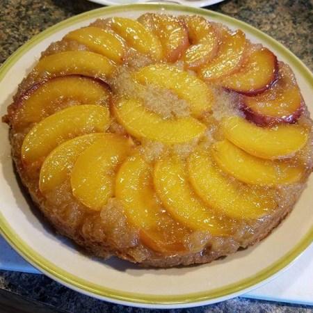 Peach upside down cake - gluten and dairy free
