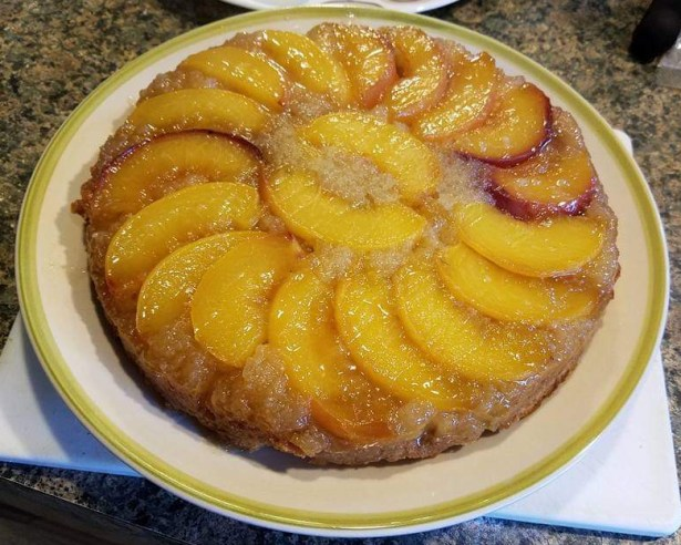 Peach upside down cake - gluten and dairy free