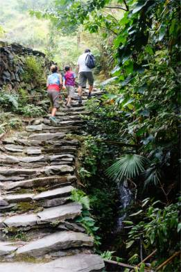 The village clings to the mountainside.  Stone pathways and stairways lead you from one area to another.