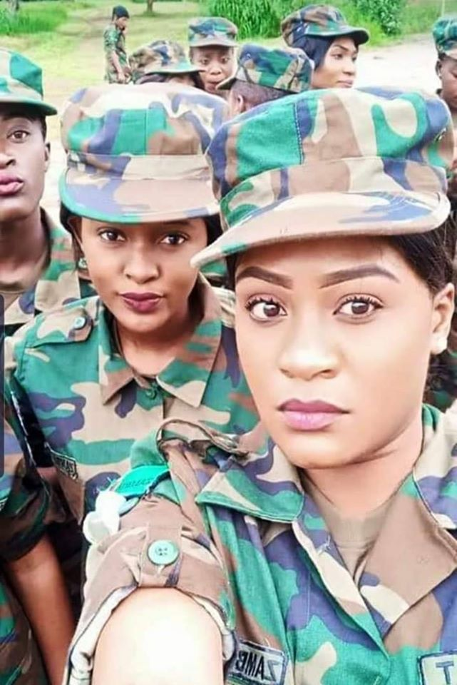 Photo: Beautiful Zambia Military Women Pose For A Selfie