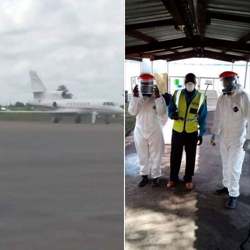 GERMANY PLANE NOT ALLOWED TO HAVE ANYONE ON BOARD DISEMBARK IN SOLWEZI
