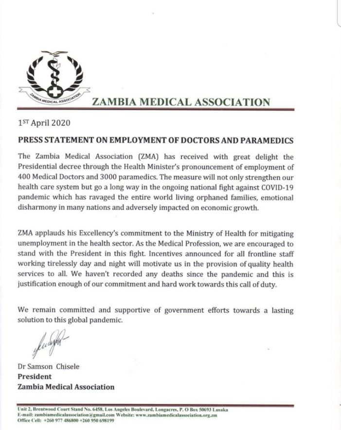 Zambia Medical Association Press Statement On Employment Of Doctors And Paramedics.