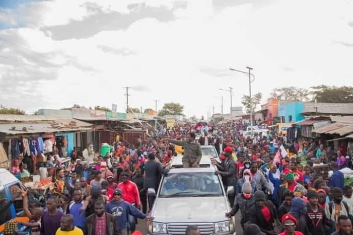 UPND leader Hakainde Hichilema is mobbed during a campaign road show in Lusaka's Mandevu area Yesterday