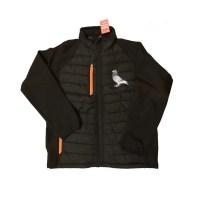 Front of jacket with orange trim