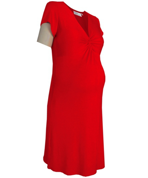 Knot twist knee length maternity wear dress