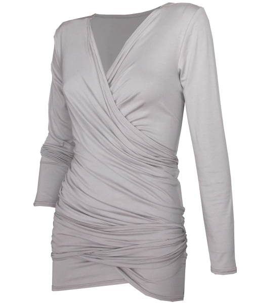 Reversible Maternity Wrap top in neutral Stone 2