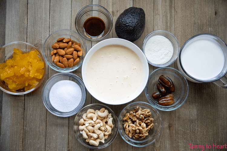 ingredients for nutty avocado shake