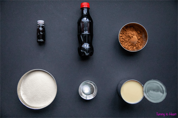 ingredients for eggless semolina chocolate cola cake