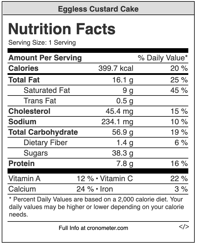 custard cake nutrition values