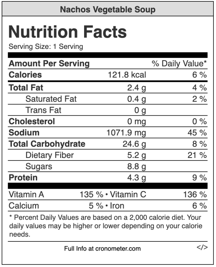 nutrition value for nachos vegetable soup