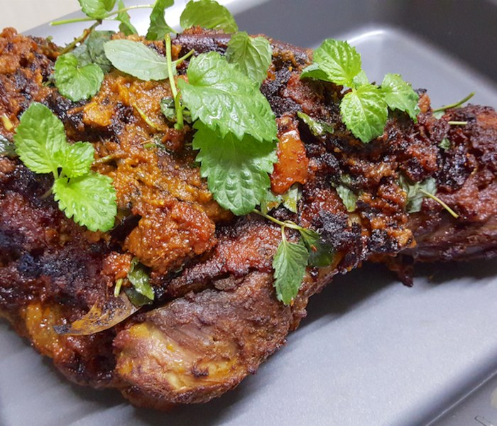 Roast leg of Lamb with indian spices