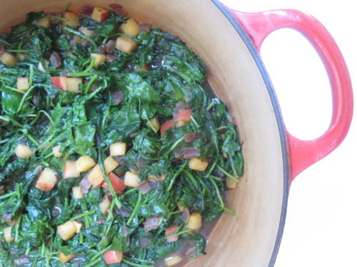 Braised Baby Kale with Apples and Brandy