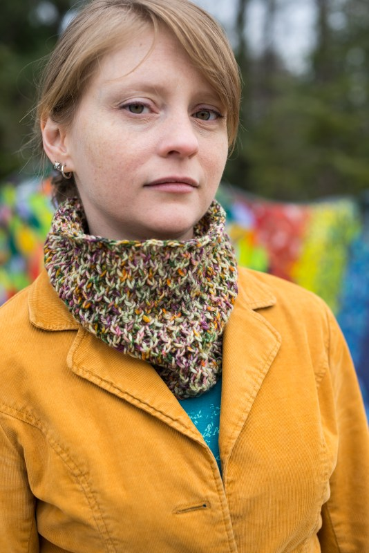Oh Bother cowl from Barbara Benson, easy to knit in DK to show of speckle yarn.