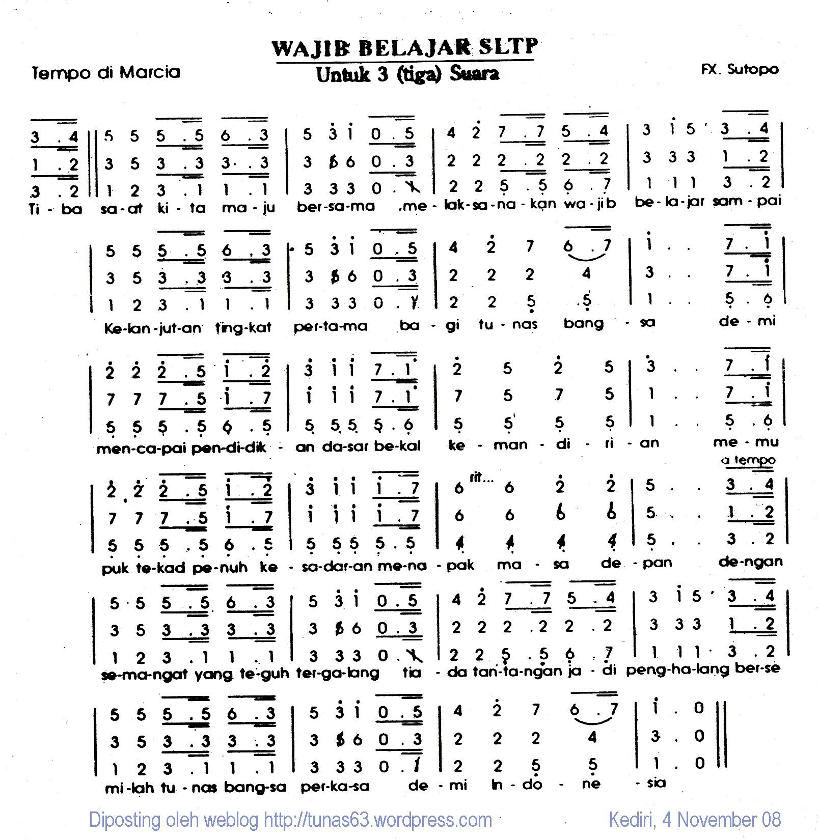 Partitur Paduan Suara: Mars Wajib Belajar SLTP (3 Suara