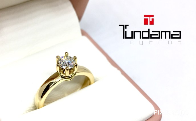 anillo oro dorado con diamante de 52 puntos certificado