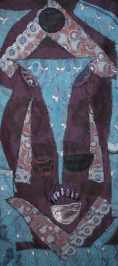 """Mask of Peace,"" batik quilt tapestry"
