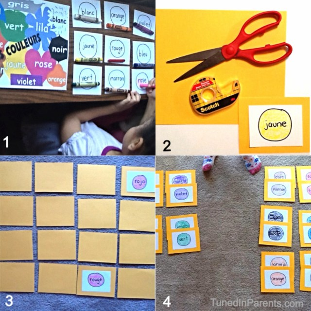 Tuned In Parents - DIY language matching game - set up