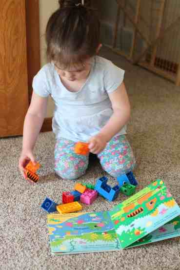These read and build lego books are so fun for toddlers! A cheap activity to develop toddlers' spatial skills and teach them how to follow lego directions.
