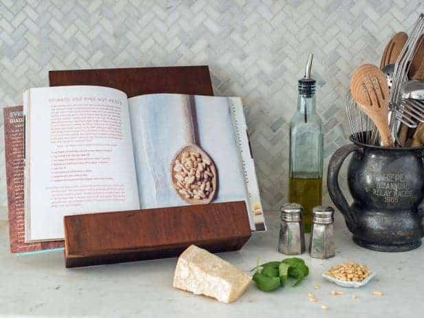 17 DIY handmade Gifts You'd actually want: handmade wooden cookbook holder