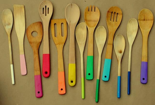 17 DIY handmade Gifts You'd actually want: rainbow painted wooden spoons