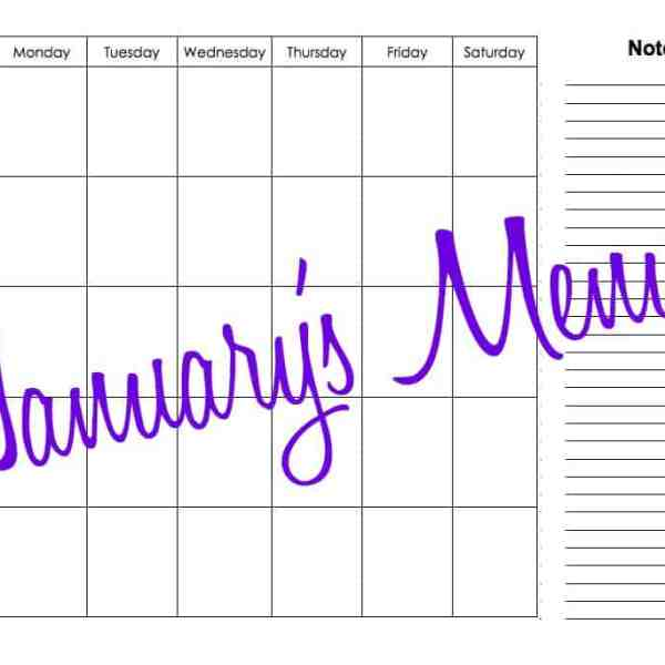 January Monthly Menu Plan – Cheap & Easy Meals