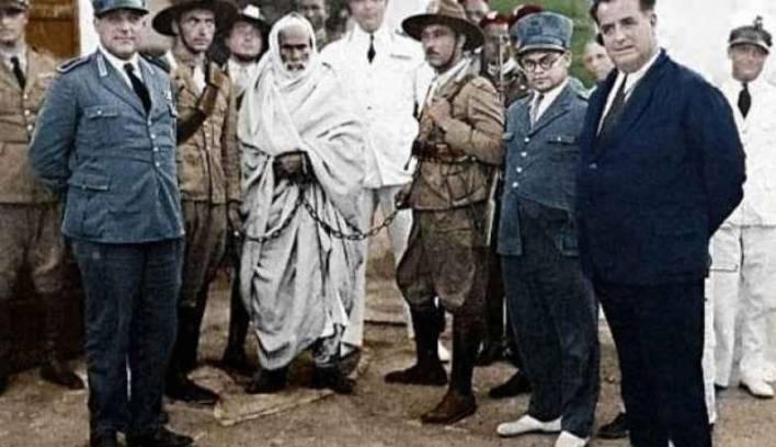 عمر المختار بعد أن وقع في أسر قوات الاحتلال الإيطالي