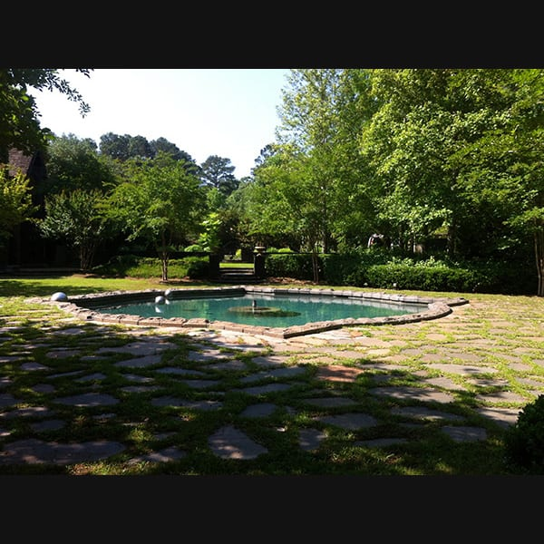 View of pool at a residence in Lagrange, Georgia, landscape designed by Tunnell and Tunnell Landscape Architecture.