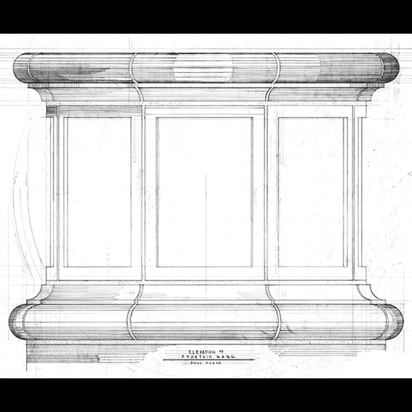 elevation of fountain base for the Atlanta Botanical Garden
