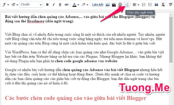 Hướng dẫn chèn quảng cáo vào giữa bài viết cho Blogspot tự động