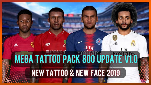 PES 2017 New Facepack + Tattoo (800 Tattoos) V3 AIO - Facepack PES 2017