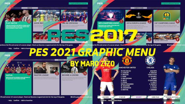 PES 2021 Graphic Menu For PES 2017 by Maro Zizo