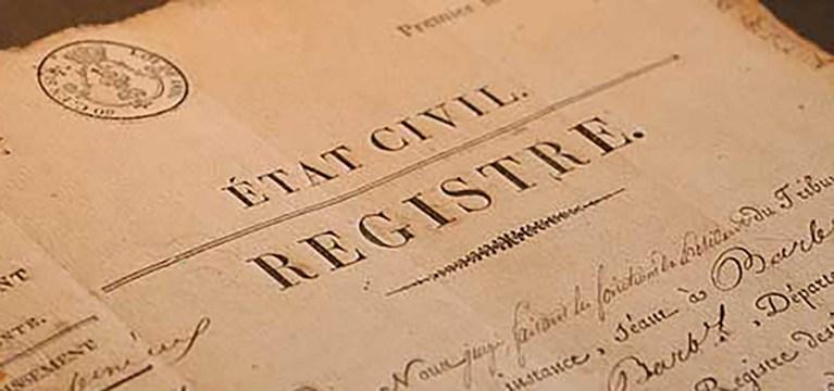 Image d'un registre d'état civil pour illustrer la page démarches administratives du site de la Mairie du Tupin et Semons tupinetsemons.fr