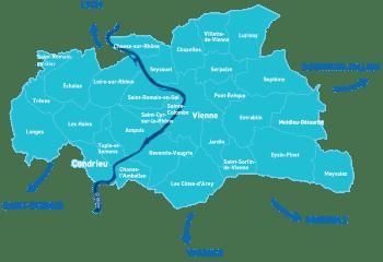 Carte détaillée avec communes de Vienne Condrieu Agglomération pour la page VCA du site tupinetsemons.fr