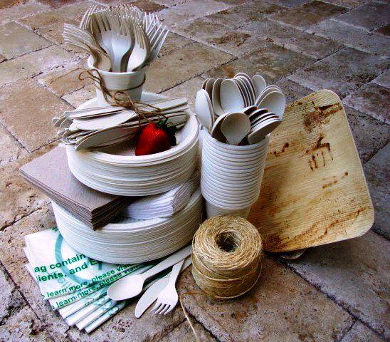 Vajilla biodegradable hecha de bambú