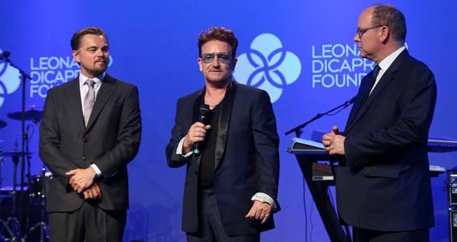 Leonardo DiCaprio, Bono y Alberto de Mónaco. HANDOUT GETTY IMAGES