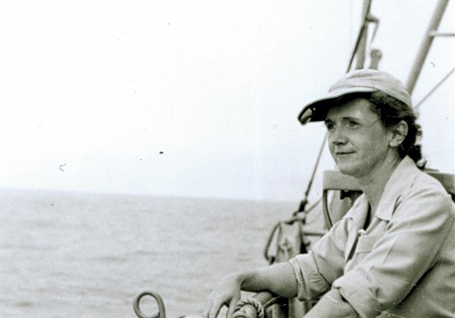 Rachel Carson in 1949 aboard the Albatross II, a U.S. Fish and Wildlife Service vessel