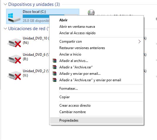 Windows unidad c propiedades