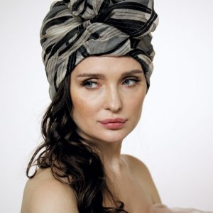 Black and beige silk organza turban with a big Pearl bead