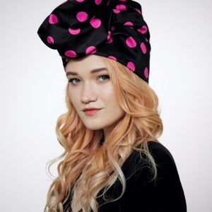 Black cotton turban hat hijab with fuchsia polka dot