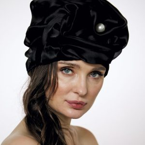 Black silk organza turban hat hijab with a big Pearl bead