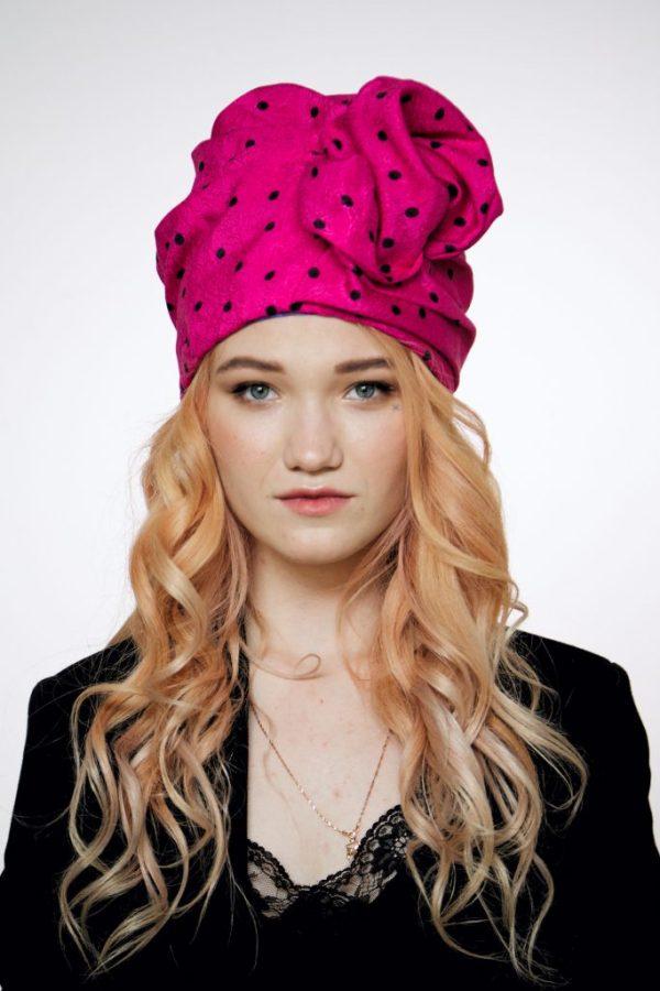 Hot pink cotton turban hat hijab with black polka dot