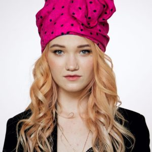 Hot pink cotton turban hat hijab with black polka dot