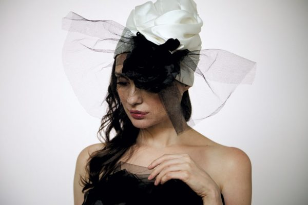 White silk organza turban with big black rose and veil