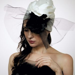 White silk organza turban with big black rose and veil